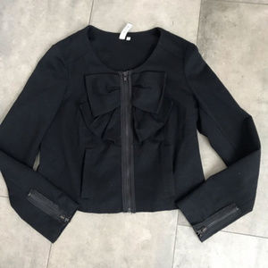 SINE Anthropologie black bisected bow jacket!